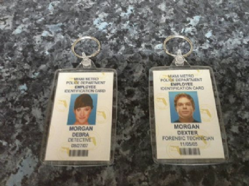 Dexter and Debra Morgan ID Card Jumbo Keyring. Miami Metro